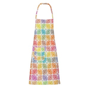 "Mille Paons Festival Apron 28""x33"", Coated Cotton"