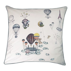 Voyage en Ballon Vintage Cushion Cover