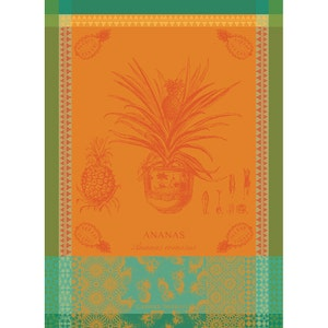 "Ananas en Pot Jaune Soleil Kitchen Towel 22""x30"", 100% Cotton"