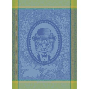 "Monsieur Chat Bleu Kitchen Towel 22""x30"", 100% Cotton"