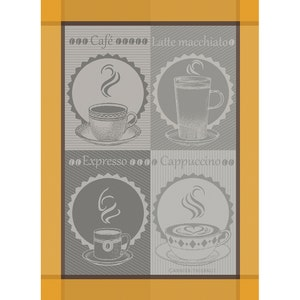 "Tasses De Cafe Macchiato Kitchen Towel 22""x30"", 100% Cotton"