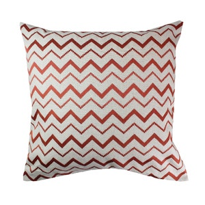 Zig Zag Brique Cushion Cover, Cotton-linen blend