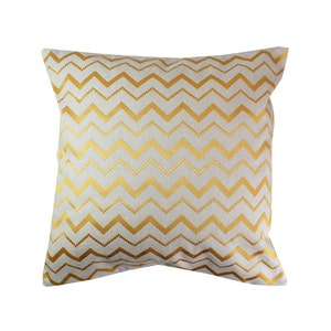 Zig Zag Curry Cushion Cover, Cotton-linen blend