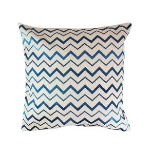 Zig Zag Petrole Cushion Cover, Cotton-linen blend